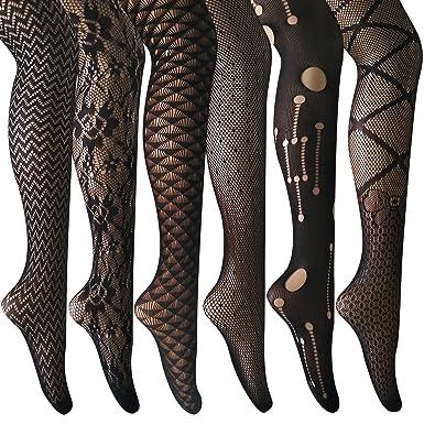 ANDIBEIQI Collants Bas Résille 6 Paires Femmes Hollow Collant extensible  filet élastique confortable noir motifs 9dd93db6823