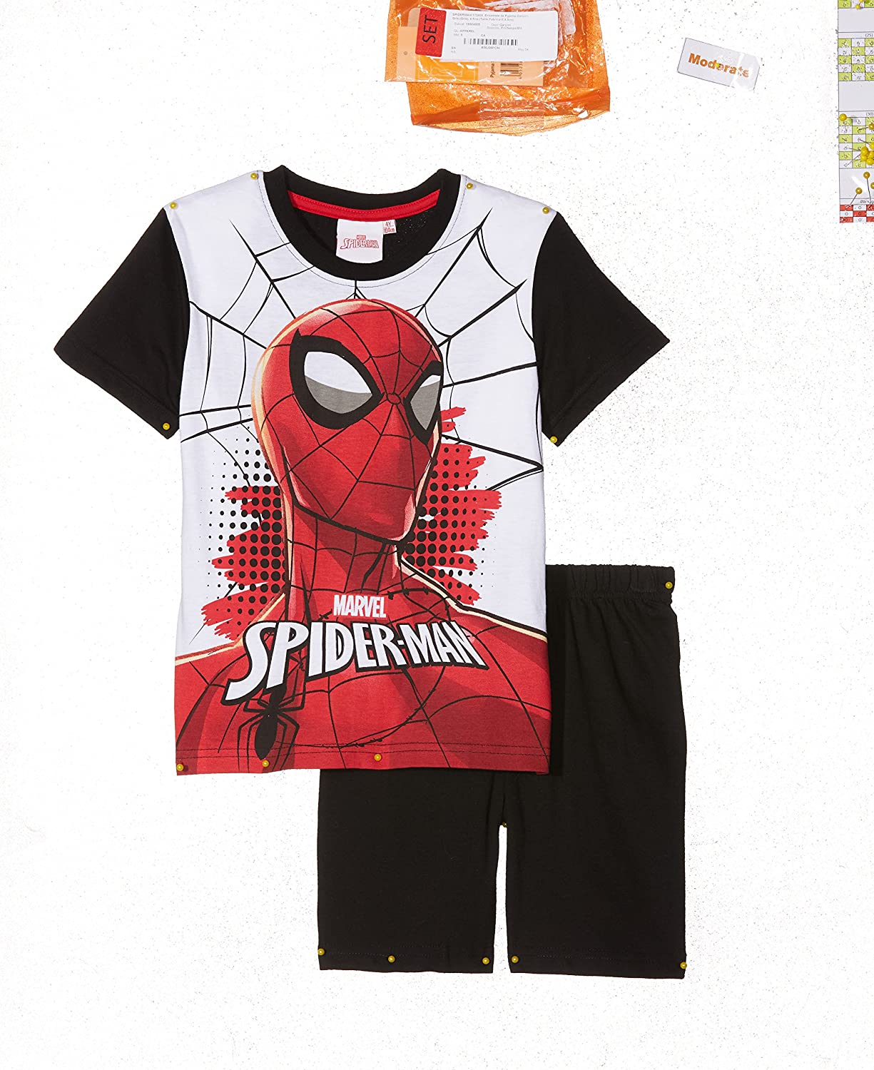 Spiderman Chicos Pijama mangas cortas - Negro - 140: Amazon ...