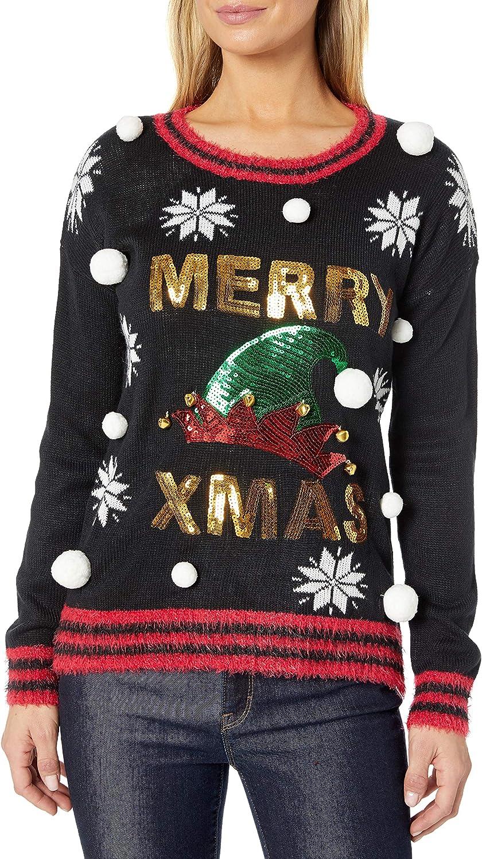 Blizzard Bay Women's Crew Neck Hi-Low Merry Christmas Pullover