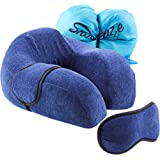 Luxury Travel Neck Pillow | Cushion with Memory Foam for Car, Airplane, Train and Travel | Compact 360° Unrivalled Comfort with Sleep Mask (Travel Bag Included).