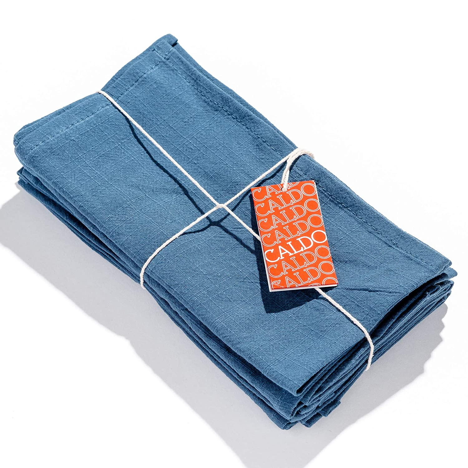 Caldo Linen Dinner Napkins - Soft and Durable Cloth - 4 Pack - 20x20 inch (Vintage Blue)