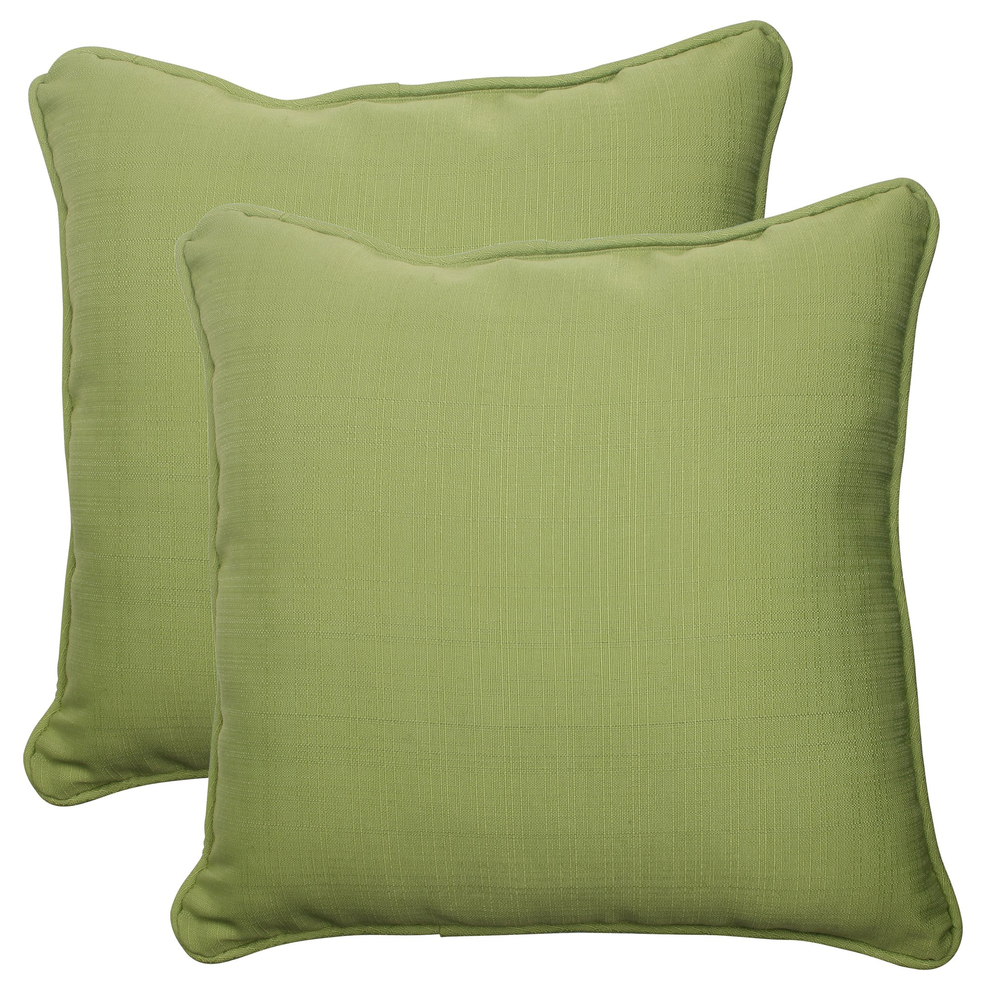 Pillow Perfect Outdoor Forsyth Corded Throw Pillow, 18.5-Inch, Green, Set of 2