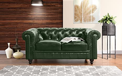 Miraculous Divano Roma Classic Scroll Arm Real Leather Match Chesterfield Love Seat Green Onthecornerstone Fun Painted Chair Ideas Images Onthecornerstoneorg