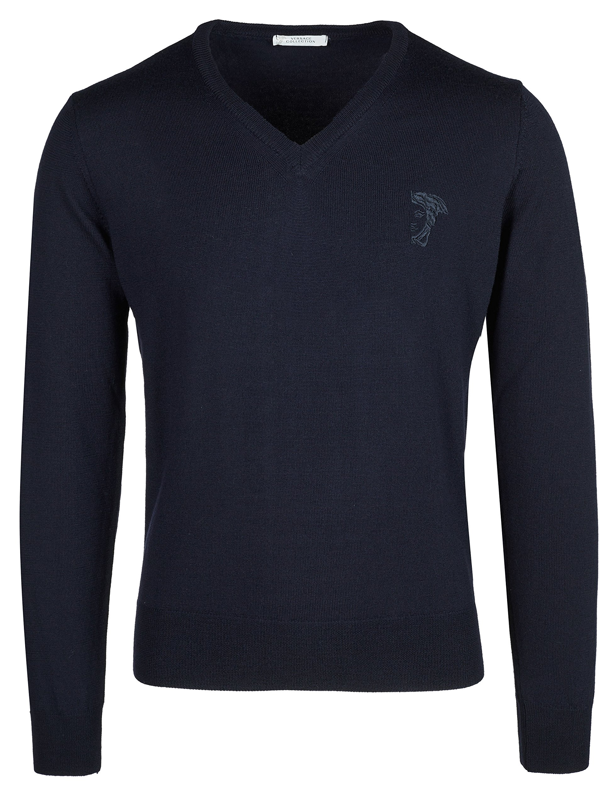 Versace Collection Navy V-neck Wool Sweater (L) by Versace