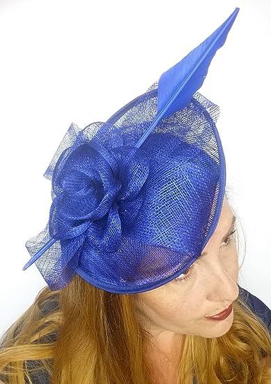 f1dd77e5653 Royal Cobalt Blue Bow Saucer Sinamay Fascinator - Occasion Wedding Races   Amazon.co.uk  Clothing