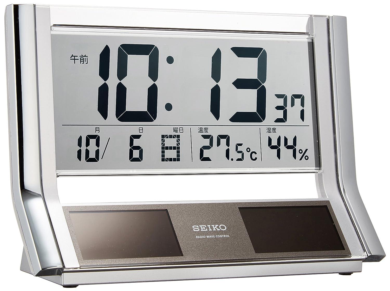 セイコー クロック 置き時計 ハイブリッドソーラー 電波 デジタル カレンダー 温度 湿度 表示 銀色 メタリック SQ690S SEIKO B002BA5AI4
