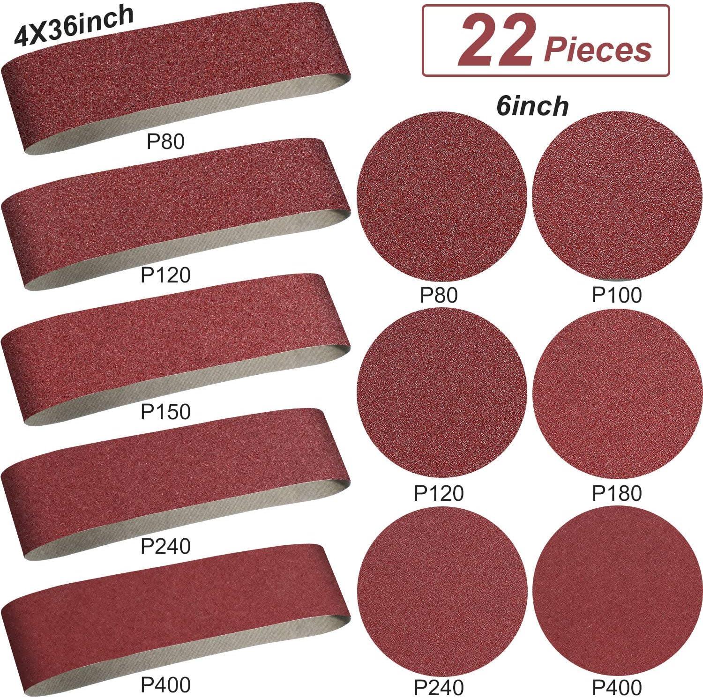 Aluminum Oxide Sanding Belts - 10 Pieces 4 x 36 Inch Sanding Belts (80/120/150/240/400 Grits) and 12 Pieces 6 Inch Self Stick No-hole Aluminum Oxide Sanding Disc (80/100/ 120/180/ 240/400 Grits)