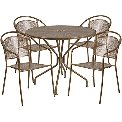 Fantastic Flash Furniture 35 25 Round Gold Indoor Outdoor Steel Patio Table Set With 4 Round Back Chairs Interior Design Ideas Inesswwsoteloinfo