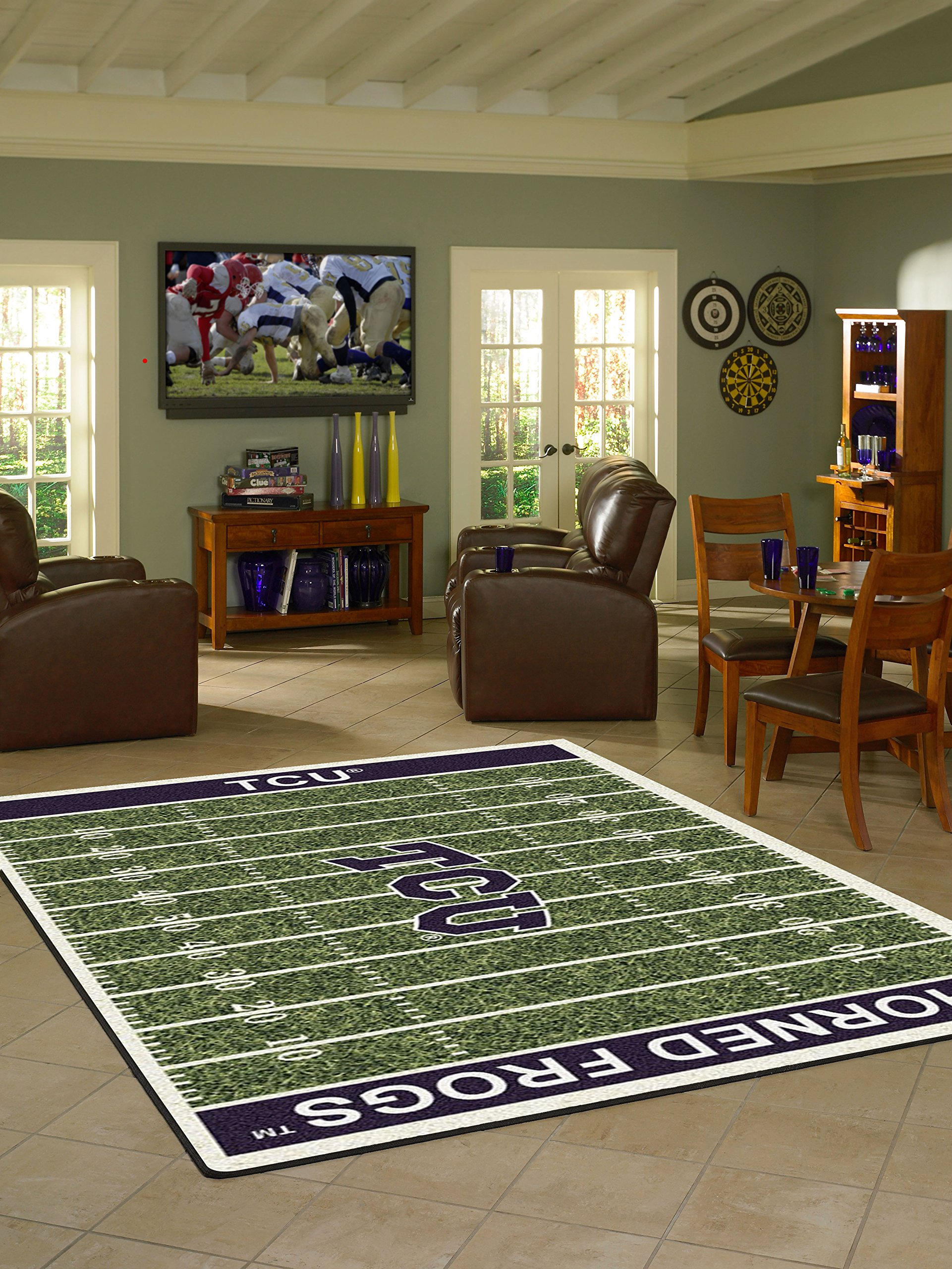 Texas Christian Horned Frogs 5 4'' x 7 8'' NCAA Home Field Area Rug by Milliken