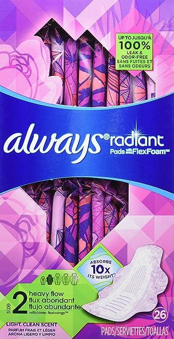 Always Radiant Feminine Pads for Women, Size 2, Heavy Absorbency, with Flexfoam Wings