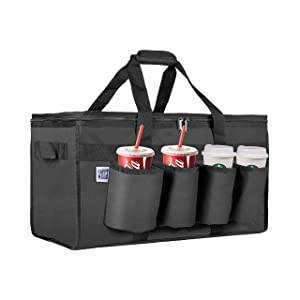 Heavy Duty Insulated Lunch Bag +4 Cup Holders - food delivery, picnic, grocieries, catering | waterproof, security zipper, collapsible, spacious, durable, carry your casseroles, drinks, lunch box and more, keeps food temperature [warm & cool]