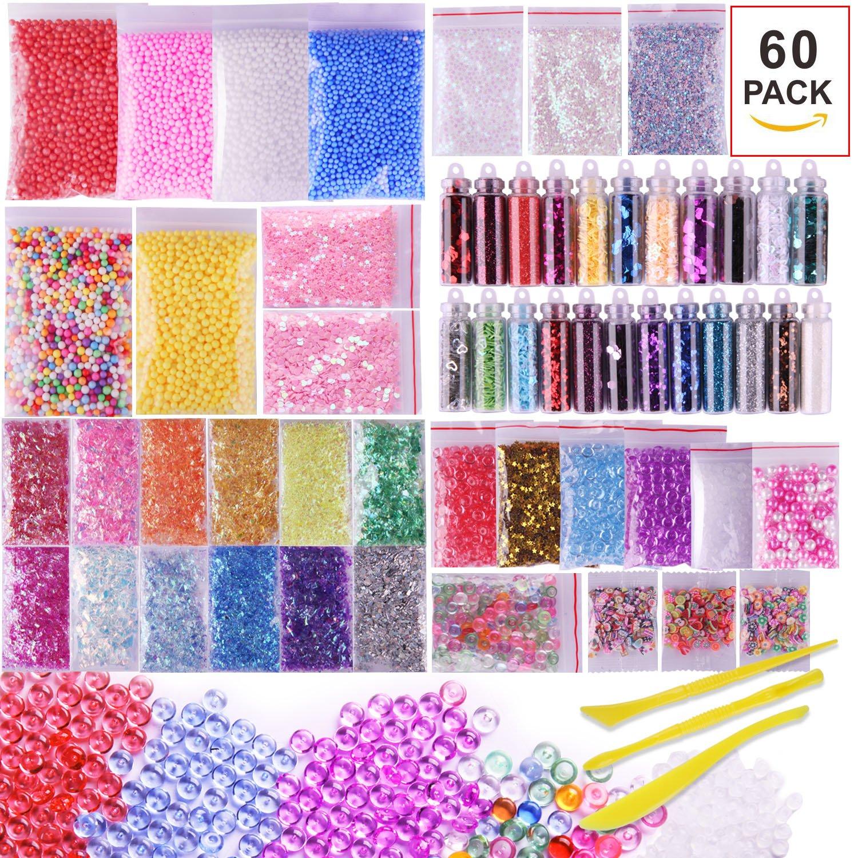 VIVOE Slime Supplies Kit - 60 Packs Slime Beads Charms Include Foam Balls, Fishbowl Beads, Glitter, Fruit Slices, Pearls, Slime Mylar Flake for Arts Crafts Ornament, Homemade Sli(60 pack Supplies Kit)