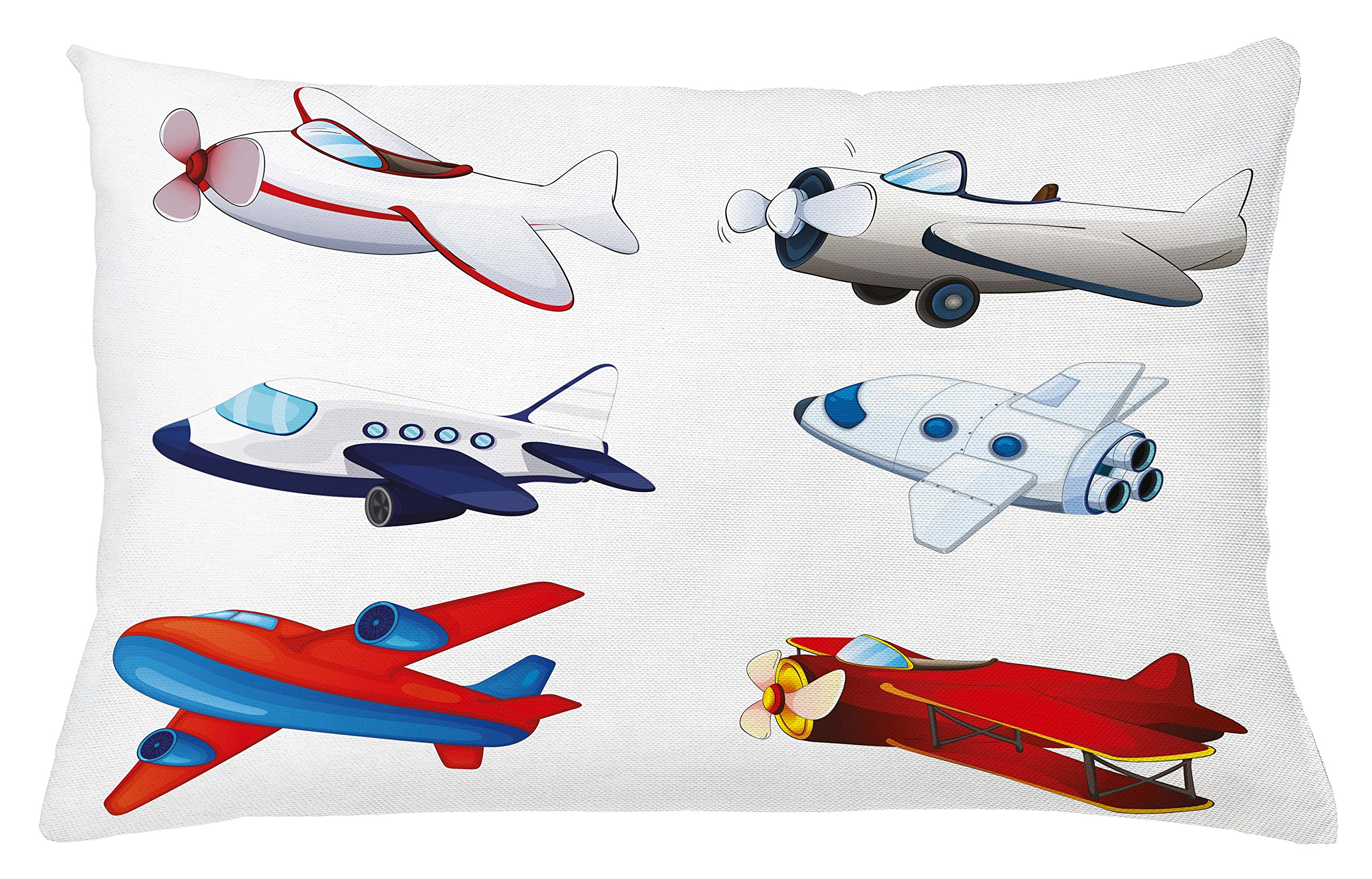 Lunarable Boy's Room Throw Pillow Cushion Cover, Varied Airplanes in Cartoon Style Animation Inspired Colorful Vehicles Air Way, Decorative Accent Pillow Case, 26 W X 16 L inches, Multicolor