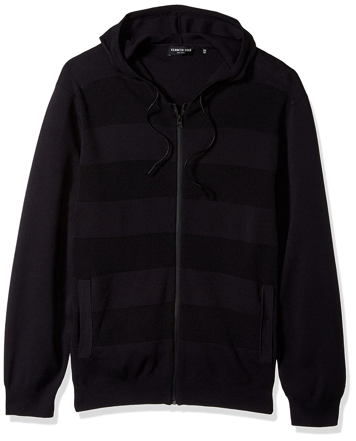Kenneth Cole New York Mens Techy Mesh Stripe Hoodie