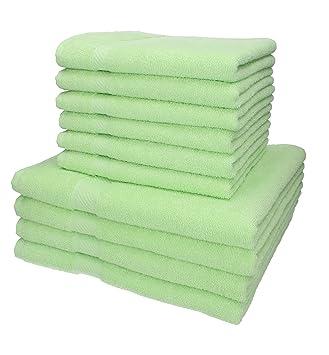 BETZ 10 Piezas Set Toallas de Mano/Ducha Serie Palermo Color Verde 100% Algodon 6 Toallas de Mano 50x100cm 4 Toallas Ducha 70x140cm: Amazon.es: Hogar