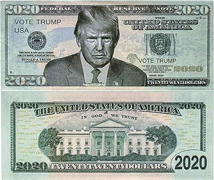 MONEY Donald Trump Re-Elect President  2020 Dollar Bills FAKE Fun Gift  I 4 5