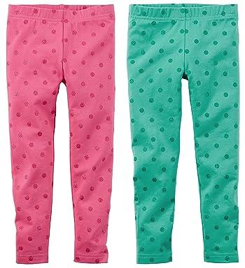 Baby Girls 2 Pack Soft Comfy Polka Dot Leggings 3-24 months