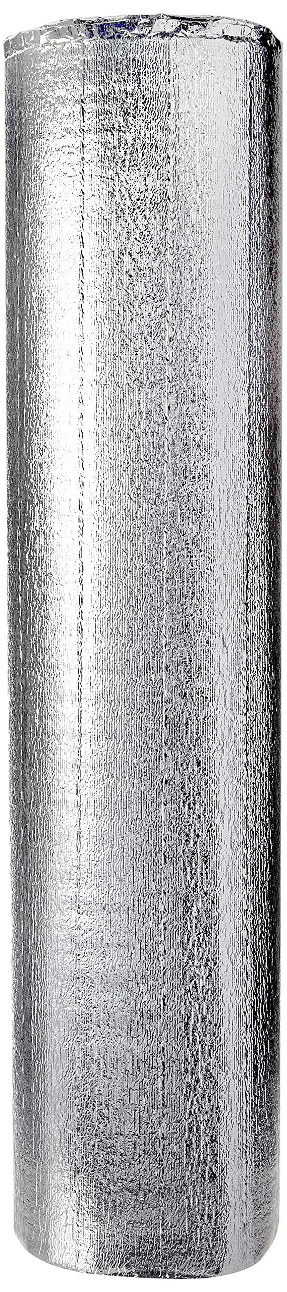 Premium Heat Reflective Insulation (48'' x 50') Reflective Aluminum Insulation Roll with Foam for Walls, Attics, Air Ducts, Windows, Radiators. HVAC and Garages