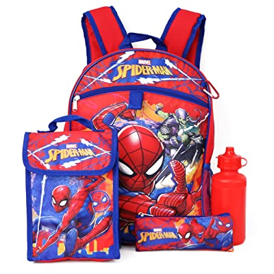 Marvel Spiderman Backpack and Lunch Box Set ~ 5-Pc Spider-Man School Supplies Set with Backpack, Lunch Bag, and More | Kids' Backpacks