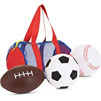 "Large Balls for Toddlers and Kids - Fun Set of 3 Sports Balls in Convenient Storage and Carry Bag - Includes 5"" Baseball, 5"" Soccer Ball, 8"" Football - Perfect for Outdoor and Indoor Safe Play"