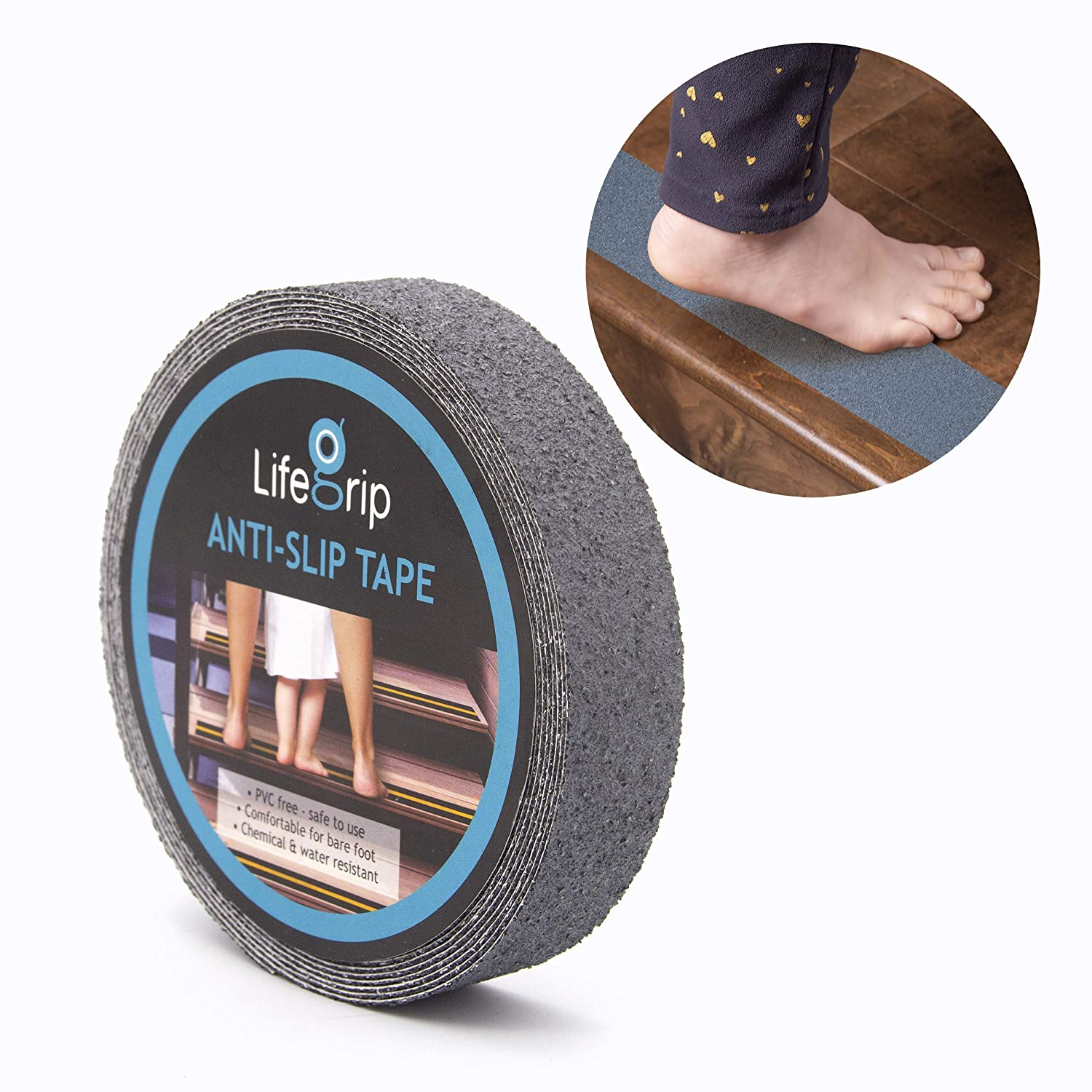 "LifeGrip Anti Slip Safety Tape, Non Slip Stair Tread, Textured Rubber Surface, Comfortable for Barefoot, Grey (1"" X 30')"