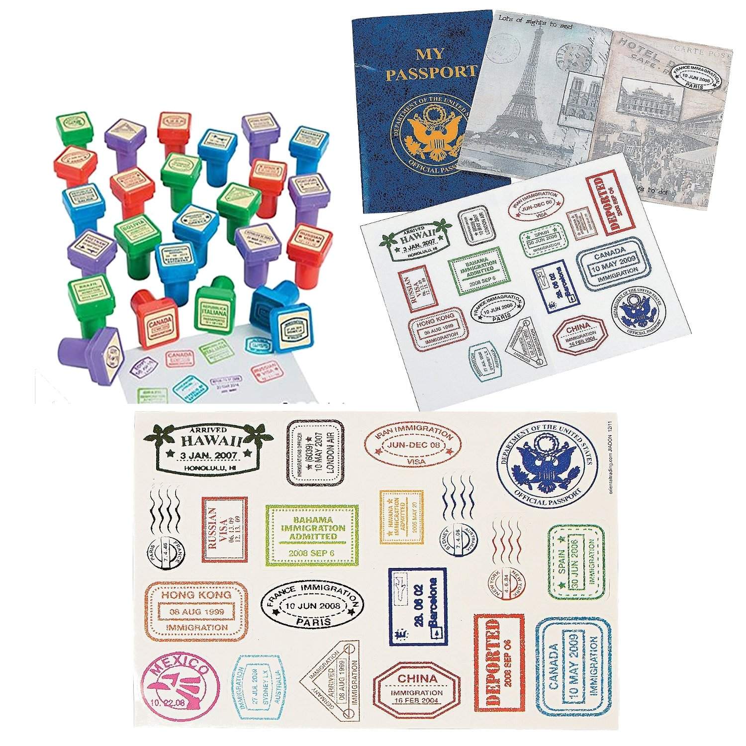 Fun Express Vintage Travel Passport Party Favor Bundle | 12 Passport Sticker Books, 24 Relpica International Stampers and Passport Stamp Sticker Sheet | Perfect for Kids Spy and Secret Agent Play