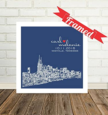 Nashville Skyline Personalized Wedding Gift for Couple City Skyline Framed Any City Available WORLDWIDE Nashville Tennessee