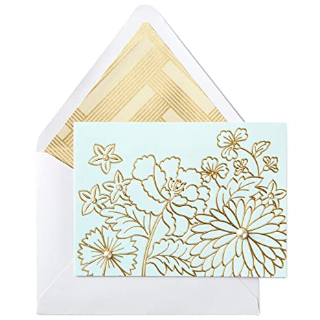 Hallmark Signature Blank Cards Gold Flowers 8 Cards With Envelopes
