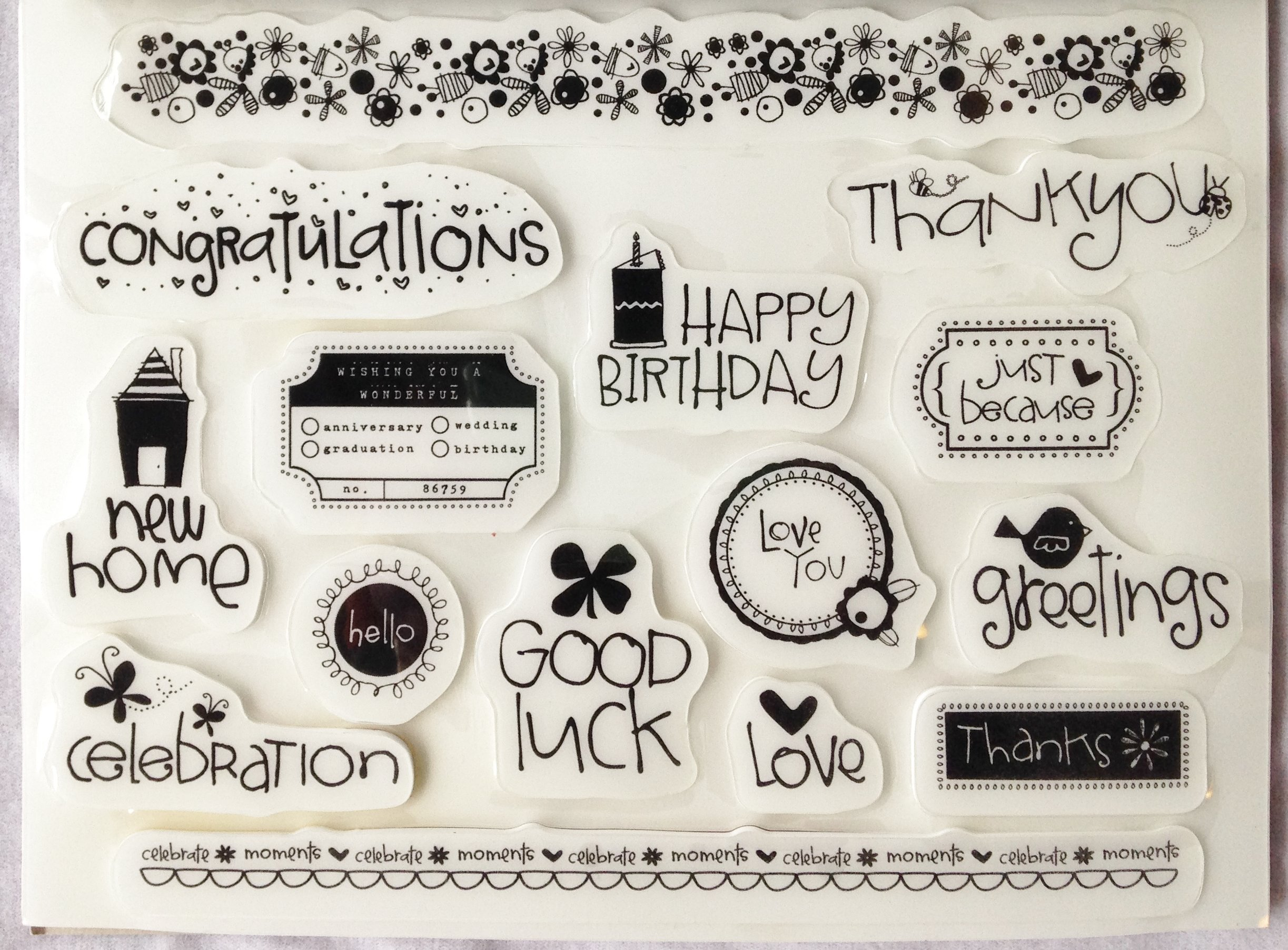 """Heidi Grace RUBBER CLING STAMPS """"Thank You"""" """"Happy Birthday"""" """"Good Luck!"""" Etc. For SCRAPBOOKING, ARTS & CRAFT PROJECTS (15 Count)"""