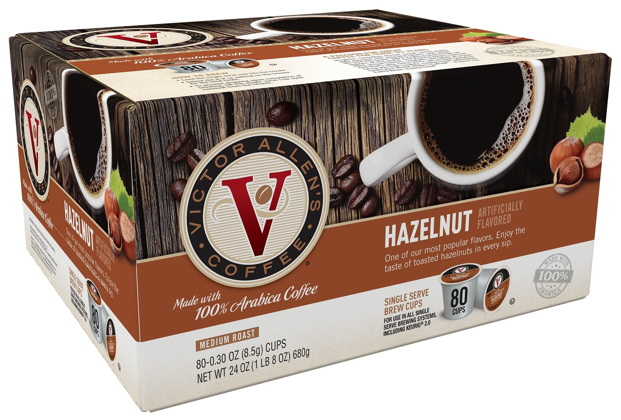 Victor Allen's Coffee, Hazelnut, 80 Count (Compatible with 2.0 Keurig Brewers)