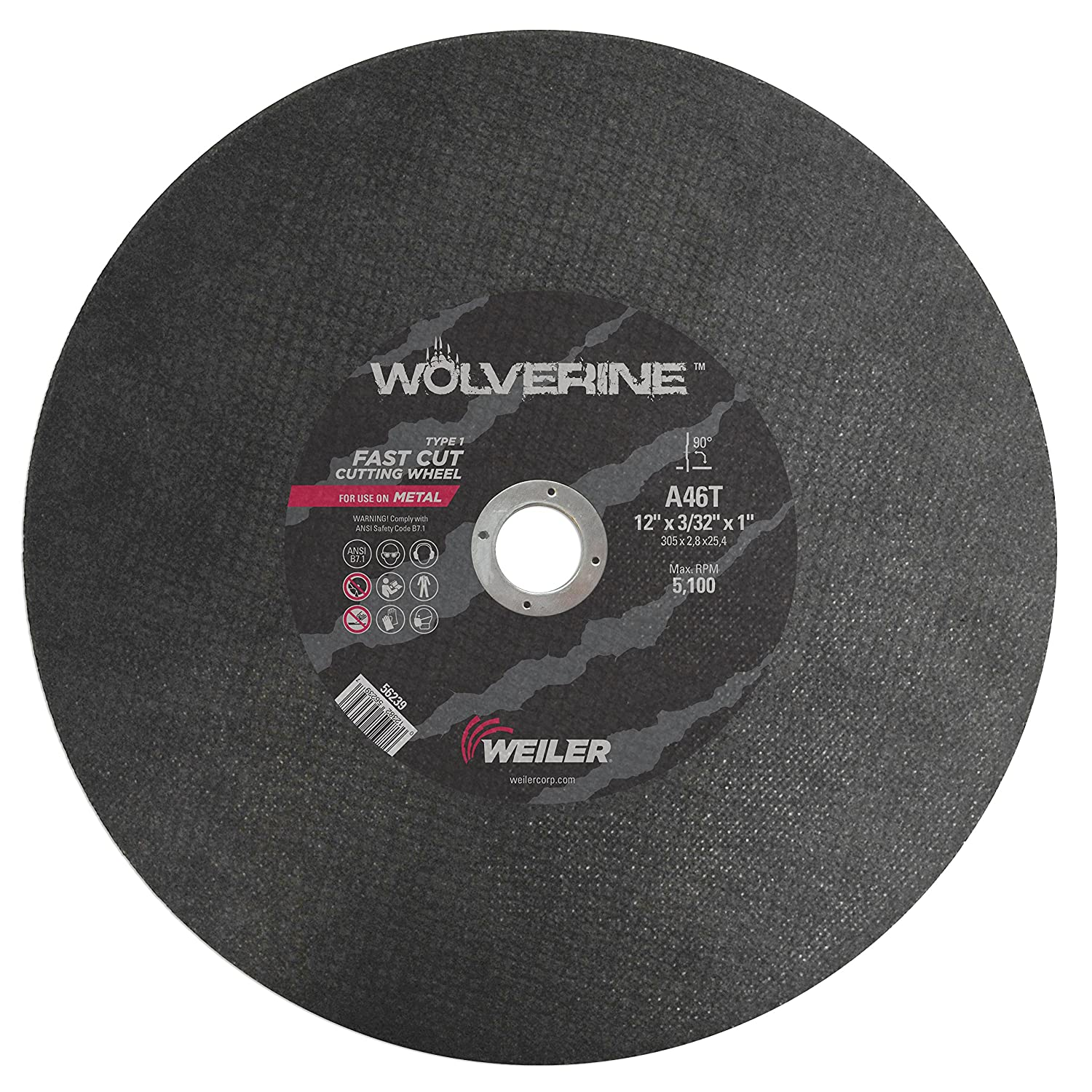 Pack of 10 Pack of 10 A46T 1 A.H. 30012382562398 Weiler 56239 12 x 3//32 Wolverine Type 1 Cutting Wheel 1 A.H.