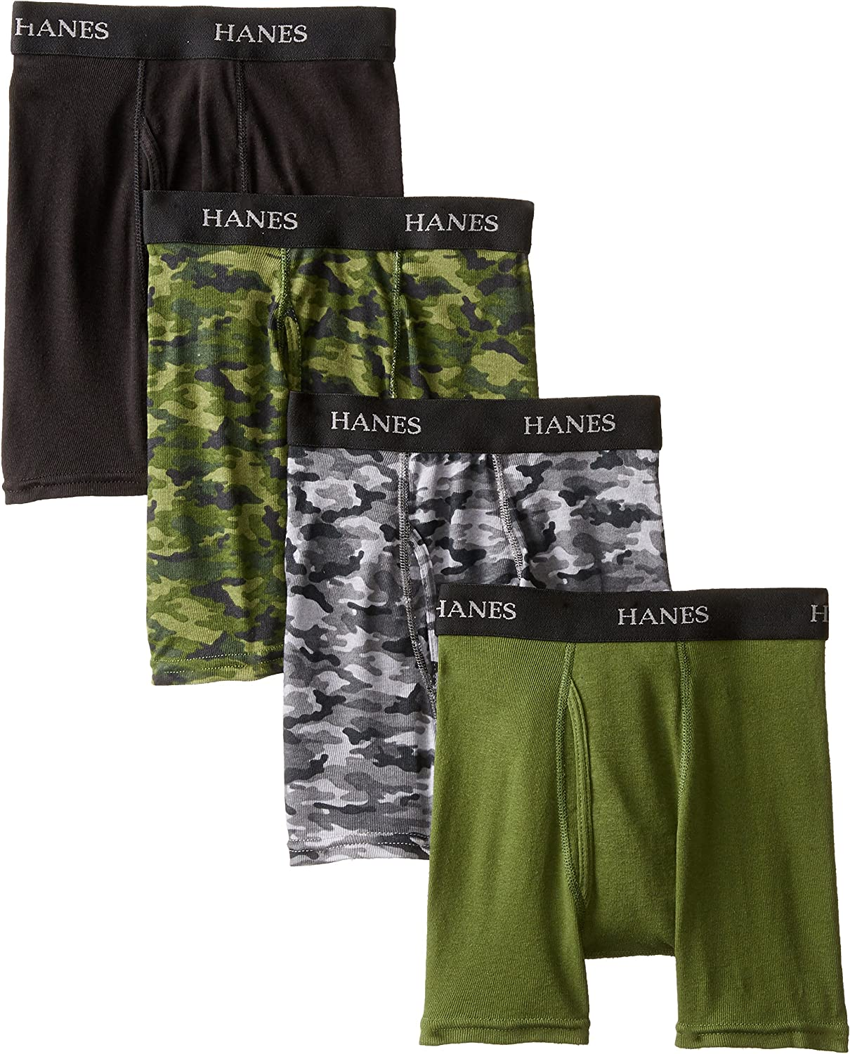 Hanes Boys' 4 Pack Ultimate Comfort-Flex Printed Boxer Brief: Clothing
