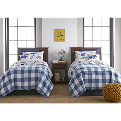 Levtex Home Dino Full/Queen Quilt Set, Cotton, Reversible, Blue, Kids: Home & Kitchen