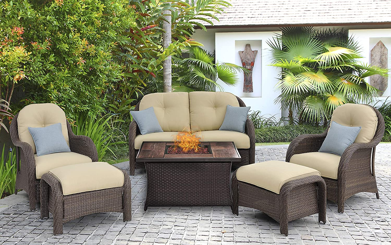 Amazing Hanover Newpt6Pcfp Crm Wg 6 Piece Newport Woven Seating Set In Cream With Fire Pit Table Gmtry Best Dining Table And Chair Ideas Images Gmtryco