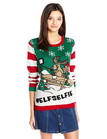 ugly christmas sweater juniors elf selfie pullover white heather xs - Ugly Christmas Sweater Elf