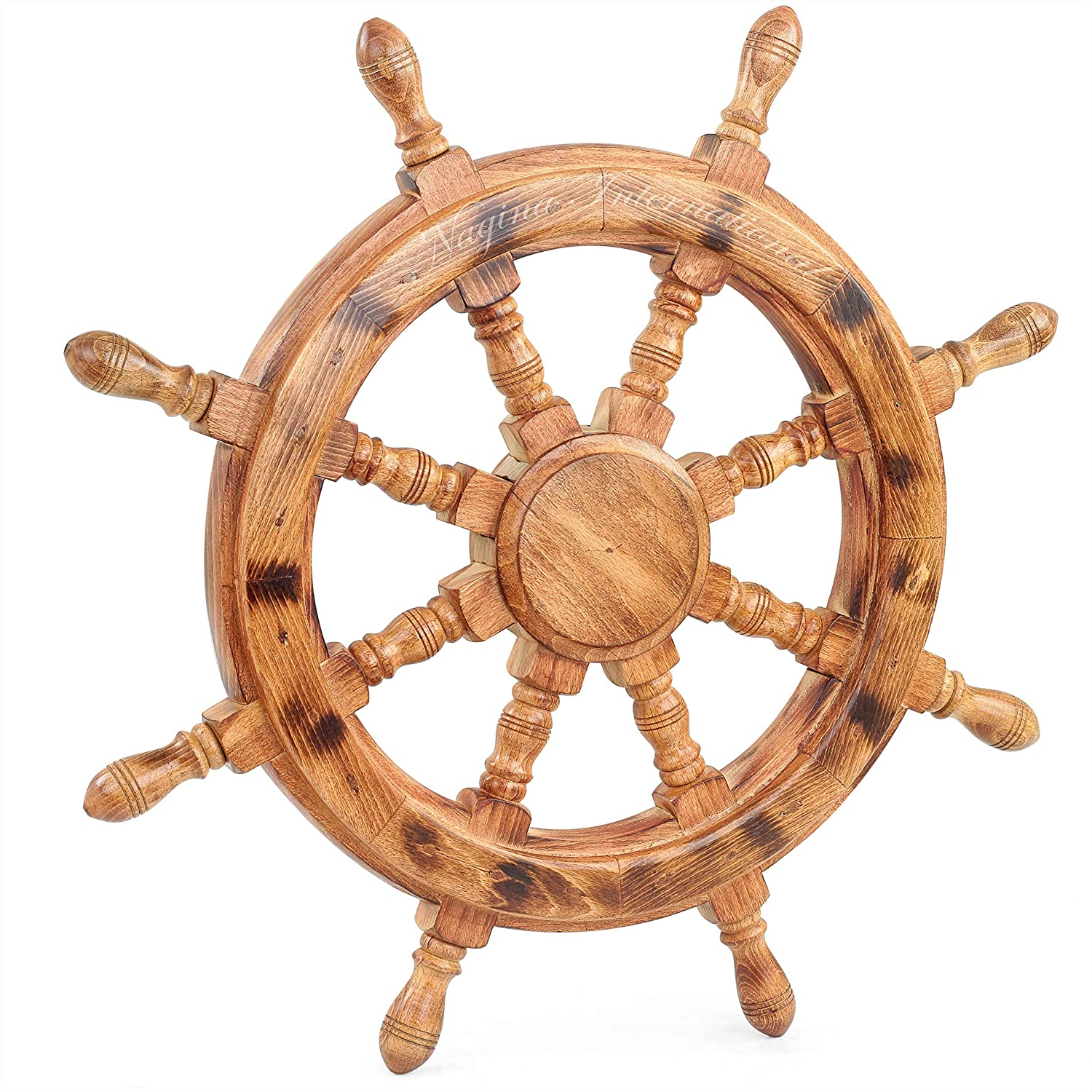 Nautical Wooden Ship Wheel Handcrafted Premium Heavy Wall Decor Accents & Sculptures | Rustic Primitive Antique Finish | Wall Hanging Ideas | Maritime Captain's Ocean Themed Gifts (Ochre) (24 Inches)