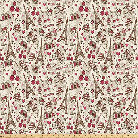 Amazon.com: Ambesonne Romantic Fabric by The Yard, Europe French ...