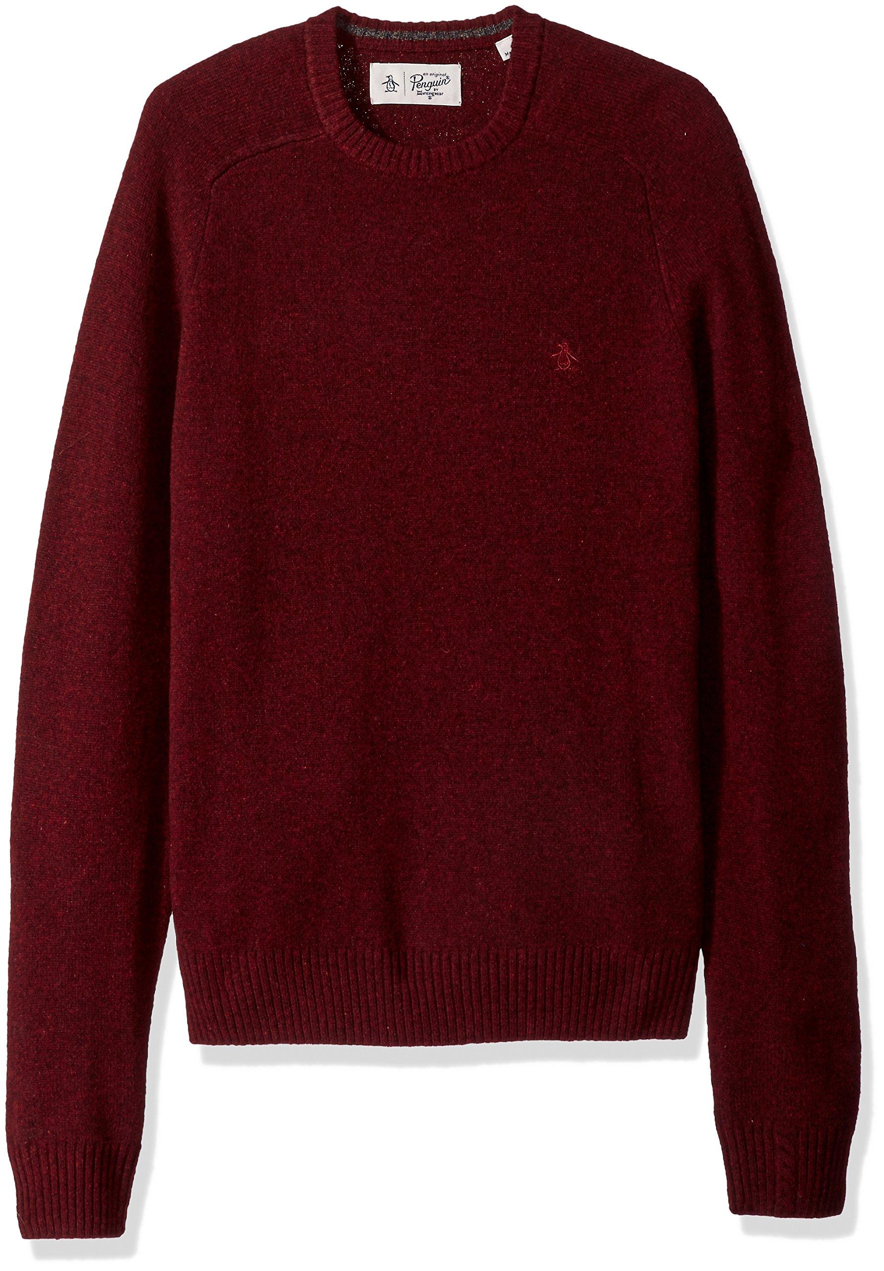 Original Penguin Men's Solid Lambswool Crew Sweater, Pomegranate, Medium