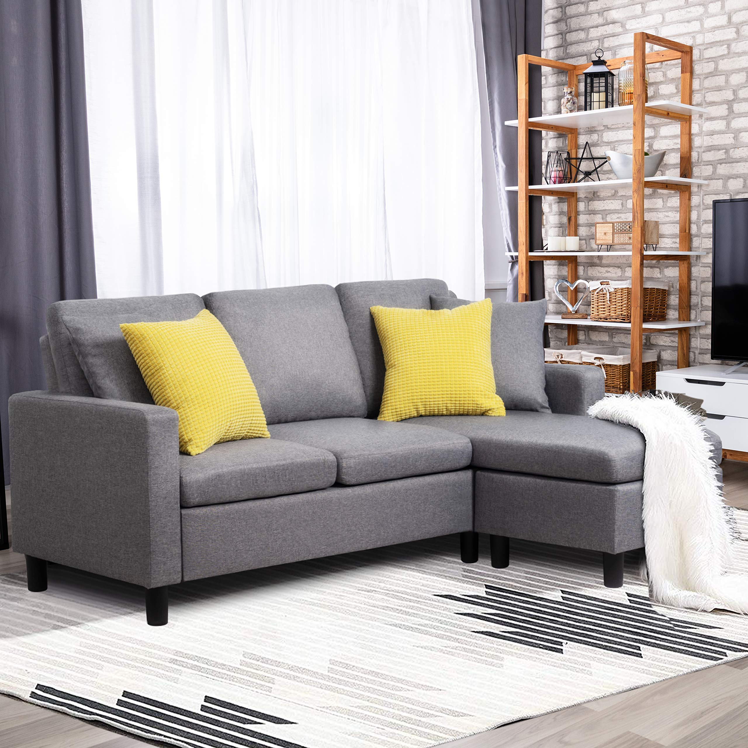 Shintenchi Sectional Sofa Couch Convertible Chaise Lounge, Modern Sofa Set for Living Room, L-Shaped Couch with Linen Fabric for Small Space, Grey by Shintenchi
