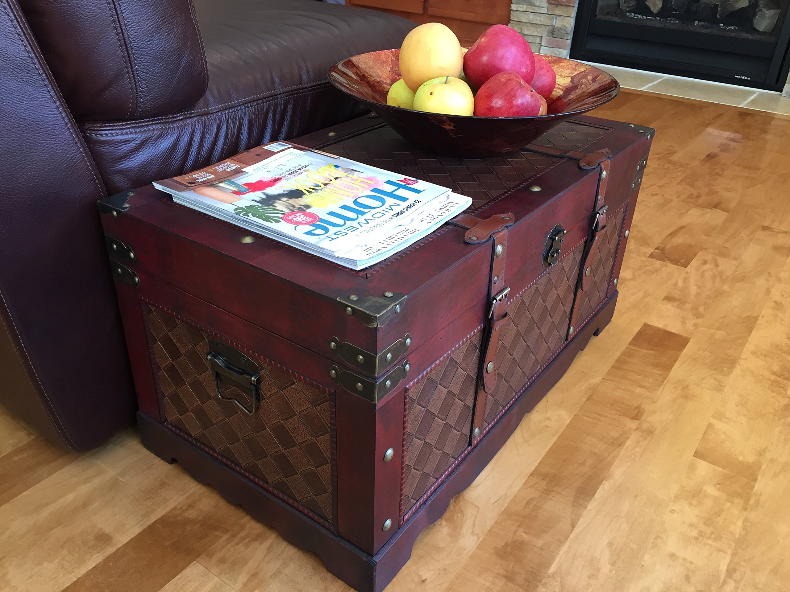 Styled Shopping Brooklyn Park Medium Wood Storage Trunk Wooden Treasure Chest by Styled Shopping