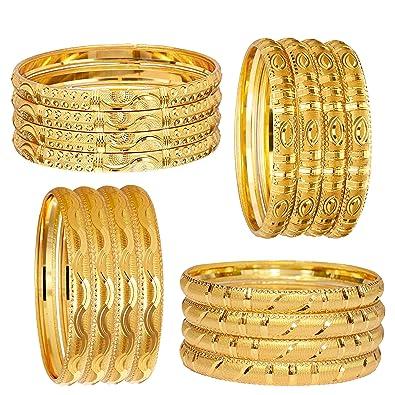 d96d2df3c63a7 Mansiyaorange Combo Of 1 Gram Gold Hand Made Meena Sixteen Bangle Set For  Women
