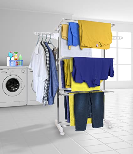 Hyfive Clothes Airer Drying Rack Extra Large 3 Tier Clothes Drying Rail Stainless Steel Folds Flat For Easy Storage