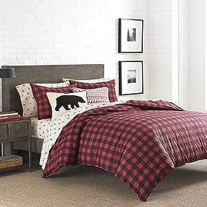 Eddie Bauer Mountian Mountain Plaid Comforter Set, King, Scarlet Red