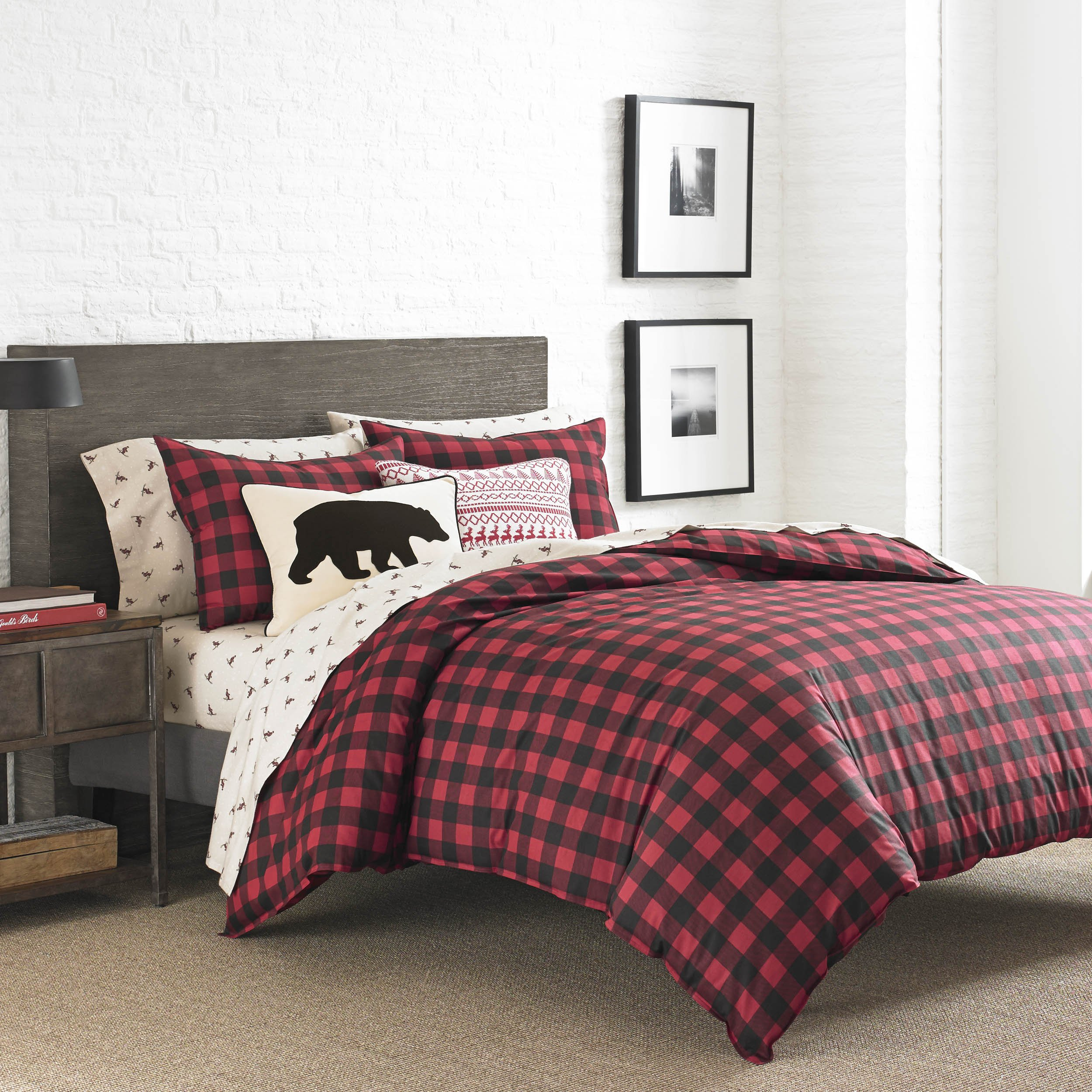 Eddie bauer 210708 mountain plaid duvet cover set scarlet king