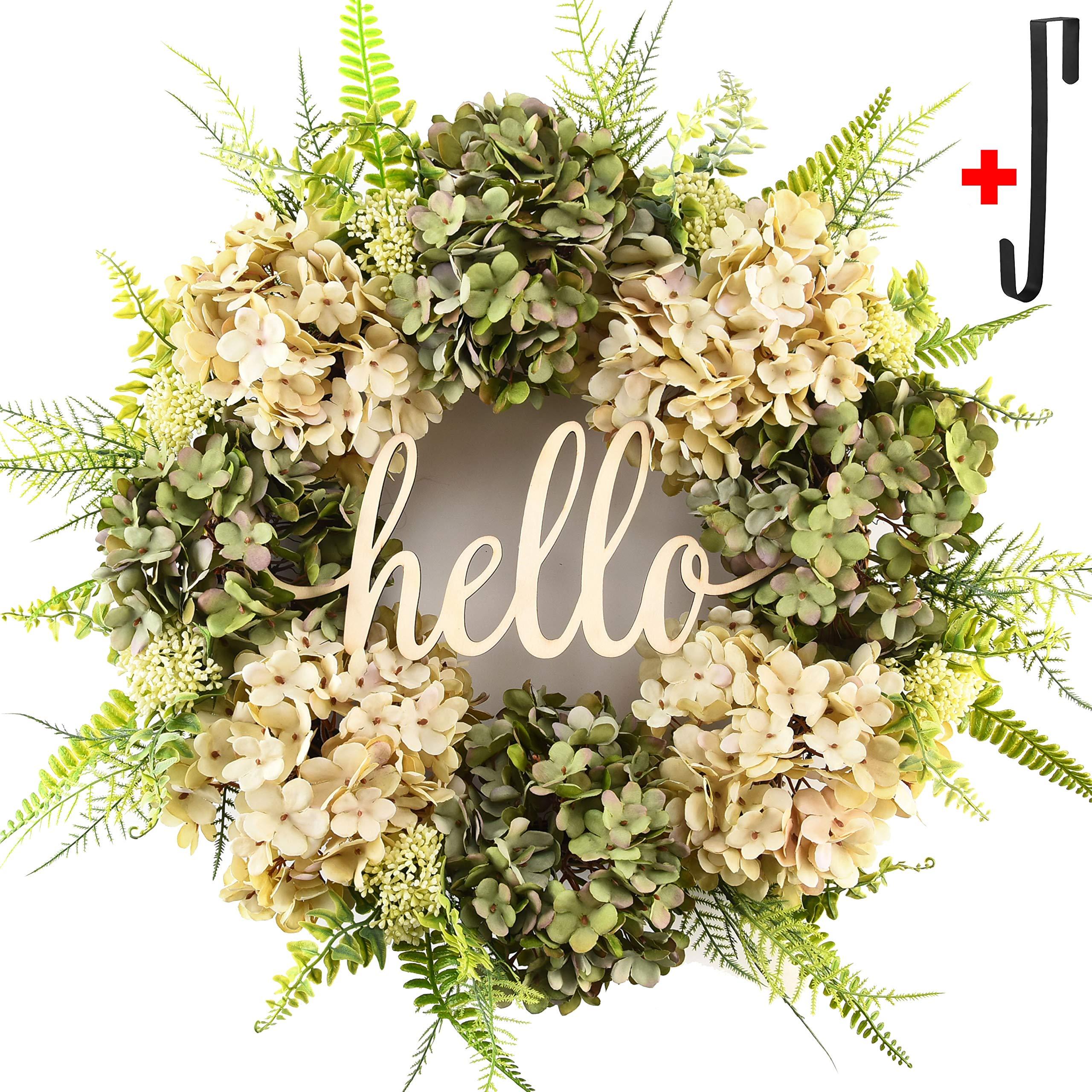 Summer wreath for front door Handmade Wreath ,welcome hello hydrangea wreaths for front door,outdoor fall spring wreaths for front door,winter letter wreaths for front door, grapevine farmhouse wreath