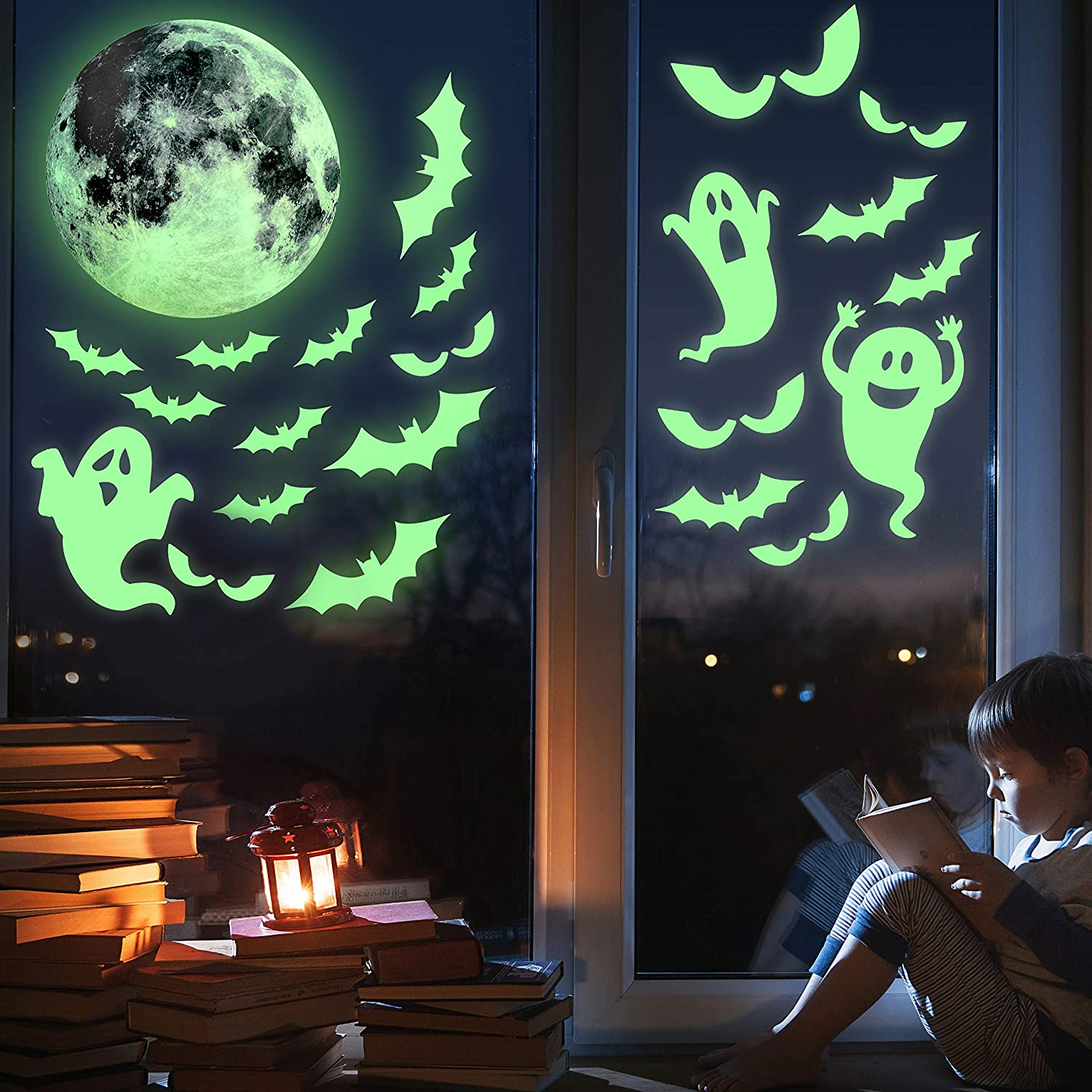 Kompanion 38 Piece Halloween Glow in the Dark Window Decals Set, Spooky Decorations, Stickers and Decor for Halloween.