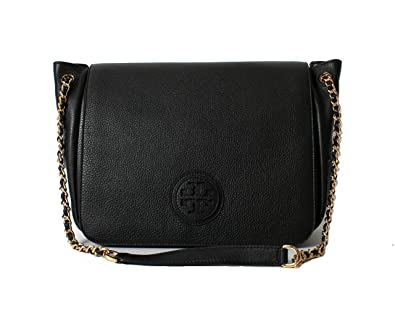 c8fe1add7a4c Amazon.com  Tory Burch Marion Pobbled Leather Flap Shoulder Bag in Black   Shoes