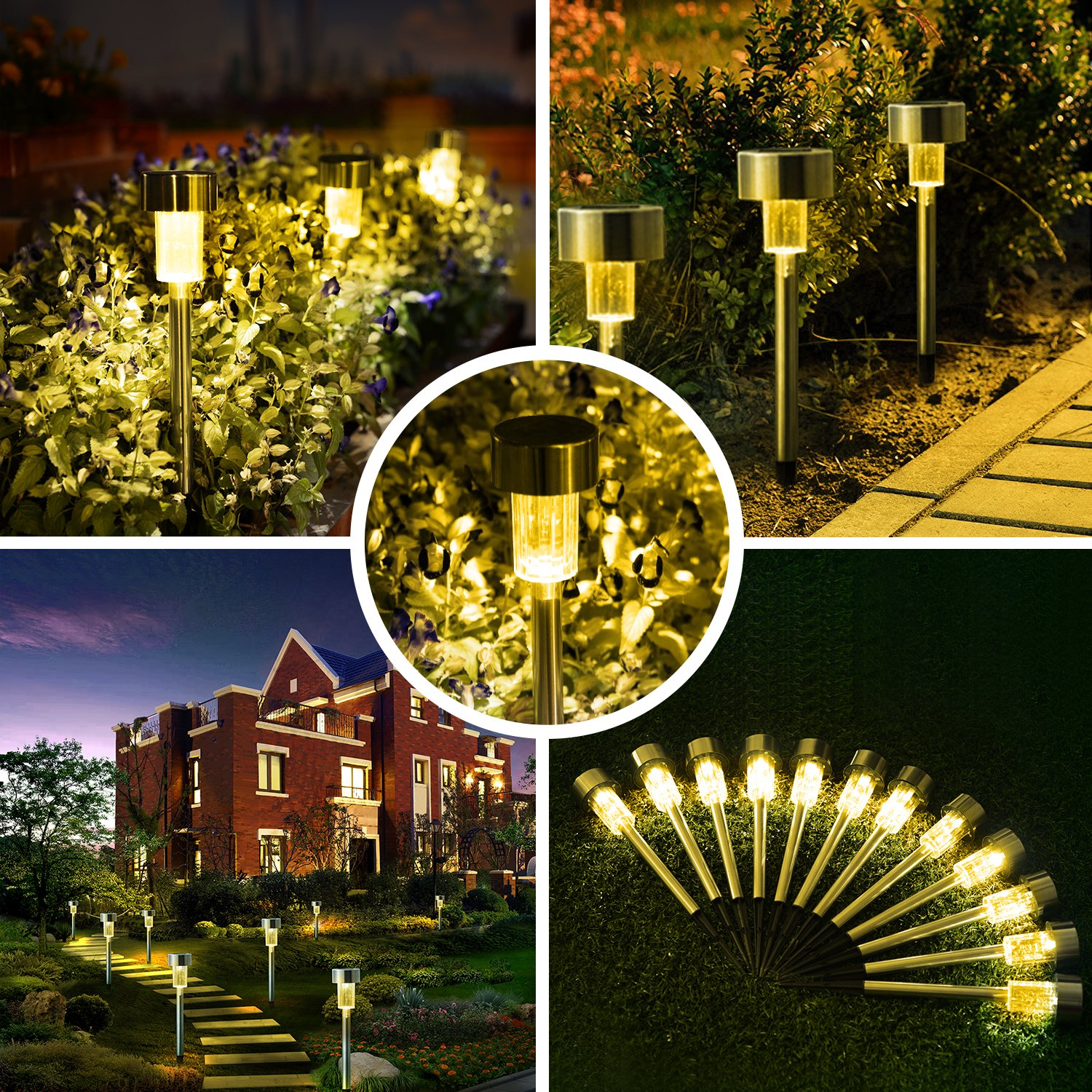 Dumax 12Pack Solar Garden Lights Outdoor, Solar Powered Pathway Lights, Stainless Steel Landscape Lighting for Patio, Lawn, Yard, Driveway, Walkway (Warm White) by Dumax (Image #5)