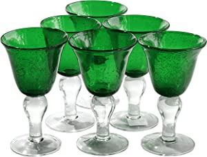 Artland Iris Seeded Green 8 Ounce Wine Glass, Set of 6