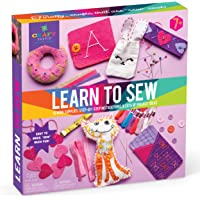 Craft-tastic – Learn to Sew Kit – Craft Kit Includes 7 Fun Projects to Teach Basic Sewing Stitches, Embroidery & More